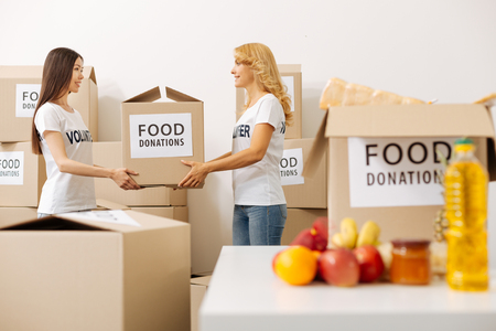 Lovely energetic ladies carrying donated food Stock Photo