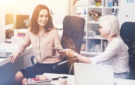 Inspiring energetic lady asking for advice Standard-Bild