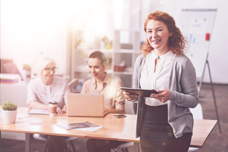 Charismatic confident woman passionate about her work Stock Photo