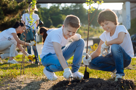 Delighted teenagers digging up hole for plant