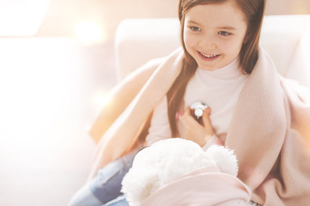 Beautiful child feeling happiness while being health Stock Photo