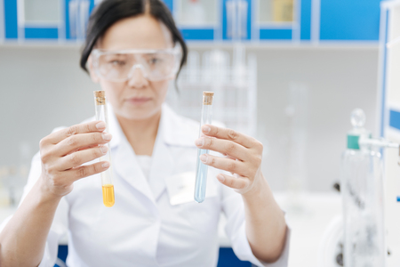Selective focus of two test tubes Stock Photo
