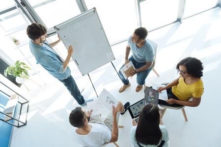Top view of an ongoing teambuilding seminar Reklamní fotografie