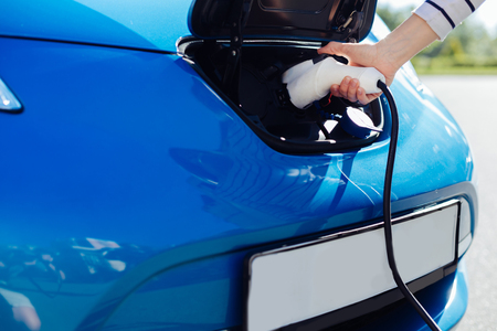 Close up of an electric car charger Stock Photo