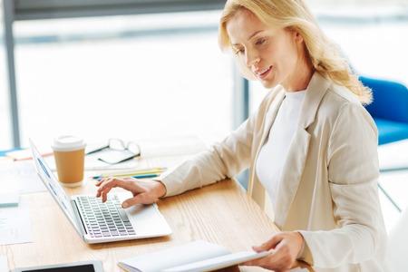 Attentive female person reading task