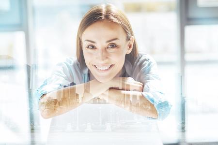Close up of optimistic business woman Stok Fotoğraf