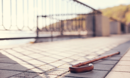 Wooden cane lying on paved sidewalk