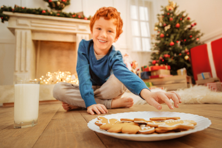 Smiling child taking gingerbread cookie at home