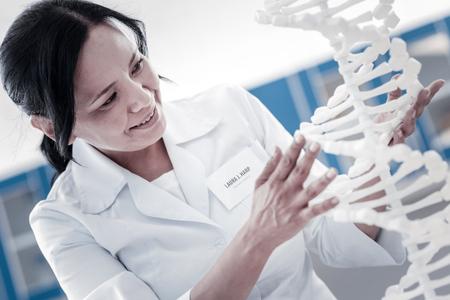 Positivity is the key to success. Cheerful scientist touching a three dimensional model of DNA and analyzing it with a cheerful smile on her face.