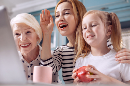 Hello there. Charming young woman sitting in the kitchen with her little daughter and senior mother and making a video call together with them while waving at web camera Stok Fotoğraf
