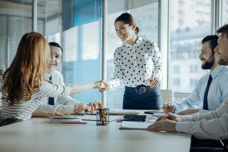 Pleasant cooperation. Upbeat young female boss shaking hands with her female colleague, congratulating her with promotion, while carrying out a meeting Stockfoto