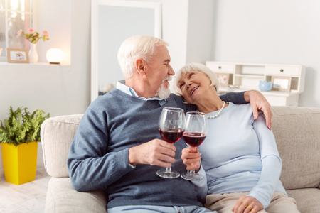 To love. Pleasant senior couple cuddling on the couch and making a toast to love, clinking their glasses, while looking at each other lovingly Stockfoto - 97923029