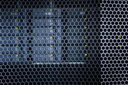 Modern interior. Black metal stylish modern important server cabinets in a data center