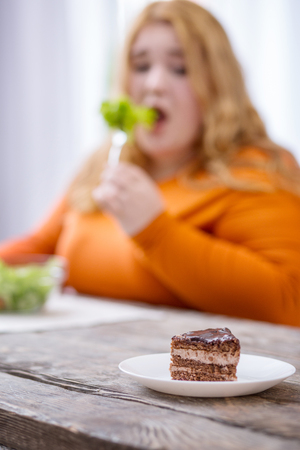 Being on diet. Sad stout woman looking at dessert and having healthy breakfast Stockfoto