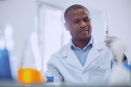 Important task. Inspired afro-american scientist doing a test while working in the lab