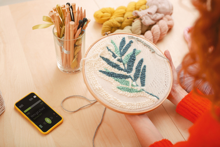 Inventive housewife. Inventive enthusiastic housewife feeling creative while embroidering nice little picture for kitchen Stockfoto