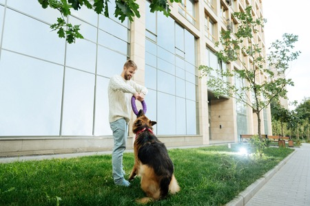 Man with dog. Blonde-haired young man feeling happy and entertained while playing with dog near his house Banque d'images