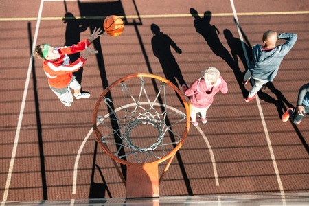 Place for basketball. Top view of a basket above a professional basketball court Stock Photo