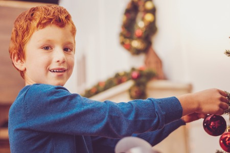 Festive mood. Adorable cheerful ginger-haired boy decorating Christmas tree in the living room and smiling at the camera pleasantly