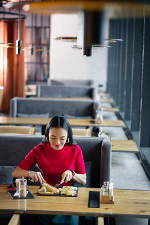 Eating in restaurant. Dark-haired stylish appealing woman using fork and knife while eating in restaurant 免版税图像