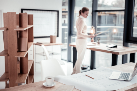 Spacious workspace. Professional strong-willed accounting manager feeling joyful while enjoying time in modern spacious workspace