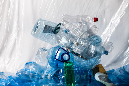 Global consumption. Big plastic mountain made of empty water bottles and representing state of our ecology