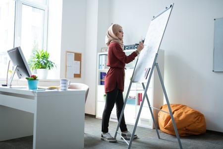 Teacher near whiteboard. Muslim teacher wearing hijab standing near whiteboard and writing notes