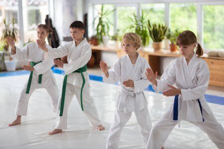 Herhaling na trainer. Jongens en meisjes herhalen na trainer terwijl ze samen aikido-bewegingen bestuderen