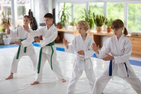 Repeating after trainer. Boys and girls repeating after trainer while studying aikido movements together