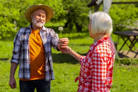 Dandelion for wife. Loving beaming retired husband wearing straw hat giving dandelion to his wife Stock Photo
