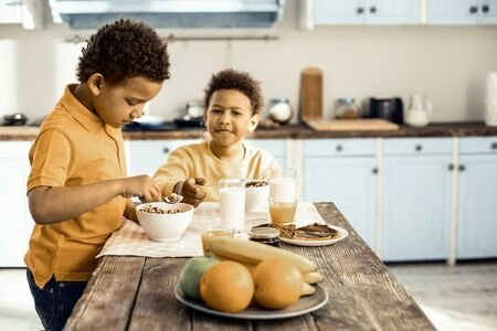 Early morning. Cute Afro-American twins having healthy breakfast before elementary school. Stock Photo