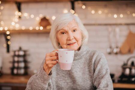 Harmony. Beautiful elderly woman in grey sweater having morning tea Foto de archivo