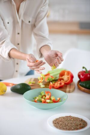 Shredded fresh vegetables. Female hands neatly putting chopped fresh vegetables in a plate while preparing a salad.