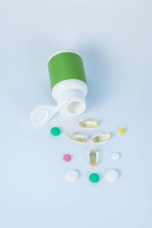 Nutrition. Many capsules and pills on the table 写真素材