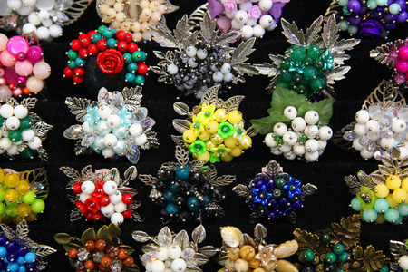 Jewelry brooches made of natural stones