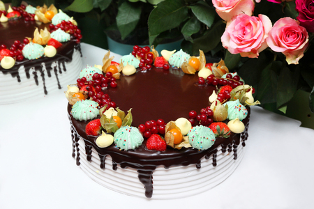 Large, tasty and beautiful cake 版權商用圖片