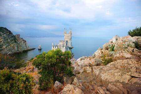 Unique and fairy-tale castle swallows nest. Crimea, AI-Todor Cape, avrorina rock Stock Photo