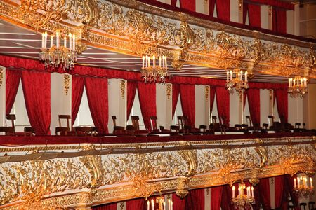 Balconies with chandeliers and spectator chairs at the Bolshoi theatre. Moscow. 26.04.2018 Editoriali