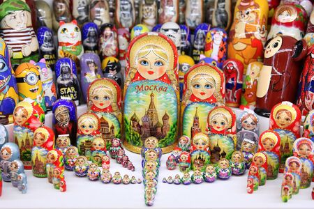 Russian dolls for a gift . Moscow. 11.07.2018 Editorial