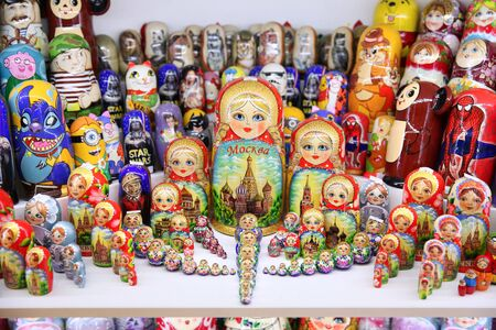 Russian Souvenirs on sale. Moscow. 11.07.2018 Editorial