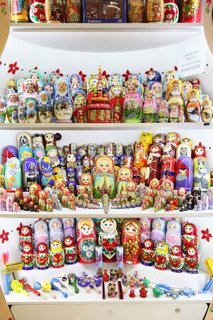 Huge selection of Russian Souvenirs. Moscow. 11.07.2018 Editorial