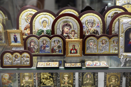 Assortment of religious Orthodox icons as a gift. Moscow. 12.10.2018