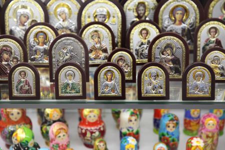 Assortment of souvenir religious Orthodox gifts. Moscow. 12.10.2018 Editorial
