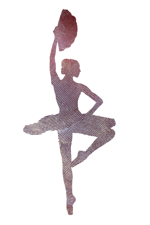 Photo of a ballerina with a fan in the image of a sparkling statuette Foto de archivo