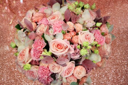 Huge beautiful Light pink bouquet with roses on a sparkling shiny background Banco de Imagens