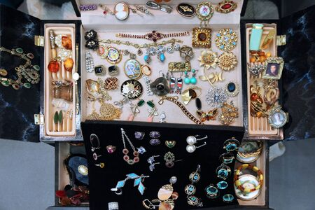 Vintage beautiful jewelry in a huge jewelry box