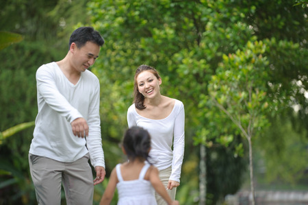 Asian family enjoying time in the park photo