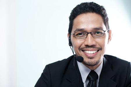 call center: Asian Business man call center