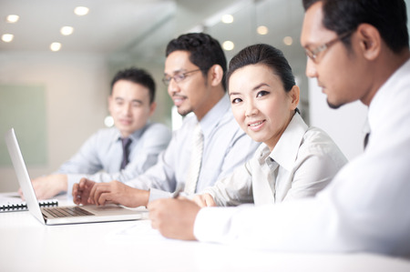 asian business team: Asian Business Man working with team