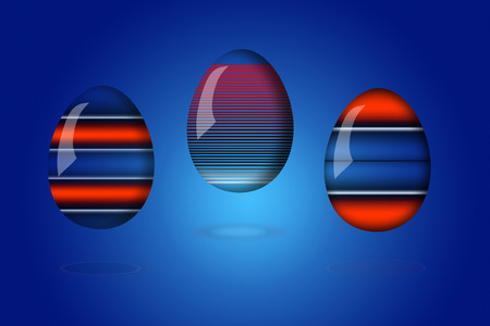 Easter eggs colored neon lights on the highlighted blue background  additionally included clipping path   photo